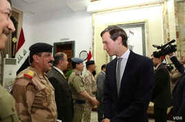 Jared Kushner, U.S. President Donald Trump's son-in-law and senior adviser, arrives at the Ministry of Defense, in Baghdad, Iraq, April 3, 2017.