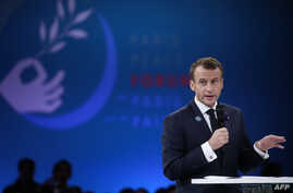 French President Emmanuel Macron delivers a speech at the Paris Peace Forum at the Villette Conference Hall in Paris, France, November 11, 2018.