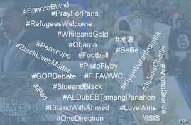 A collection of photos from topics that trended on Twitter in 2015, along with some of the most popular hashtags.