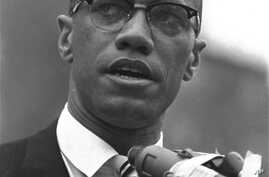 Black Muslim leader Malcolm X is shown addressing rally in Harlem, New York on June 29, 1963.