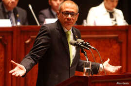 Ecuador's Vice President Jorge Glas gestures while he addresses the National Assembly in Quito, Ecuador, June 21, 2017.