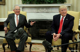 U.S. President Donald Trump meets with Peru's President Pedro Pablo Kuczynski at the White House in Washington, Feb. 24, 2017.