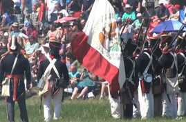 Actors re-enact the Battle of San Jacinto just east of current-day Houston, Texas