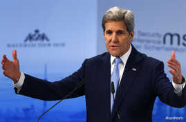 U.S. Secretary of State John Kerry delivers a speech at the Munich Security Conference in Munich, Germany, Feb. 13, 2016.