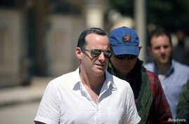 Brett McGurk, U.S. envoy to the coalition against Islamic State, visits the town of Tabqa, Syria, June 29, 2017.