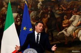 Italian Prime Minister Matteo Renzi speaks during a media conference after a referendum on constitutional reform at Chigi palace in Rome, Dec. 5, 2016.