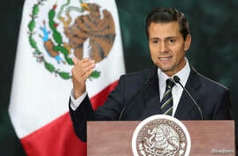 Mexico's President Enrique Pena Nieto delivers a speech during a welcome ceremony at the National Palace in Mexico City, Mexico, Nov. 4, 2016.