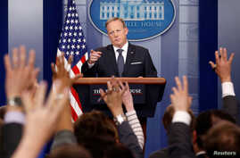 White House Press Secretary Sean Spicer takes a question during a press briefing at the White House in Washington, May 30, 2017.
