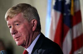 "Former Massachusetts Gov. William Weld addresses a gathering during a New England Council ""Politics & Eggs"" breakfast in Bedford, N.H., Feb. 15, 2019. Weld announced he's creating a presidential exploratory committee for a run in the 2020 election."