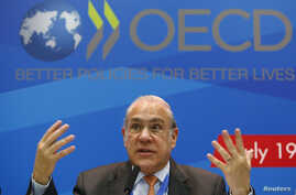 Angel Gurria, secretary-general of the Organisation for Economic Co-operation and Development (OECD), gestures during a news conference in Moscow, July 19, 2013.
