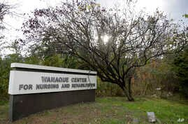 A general view of the marquee outside of the Wanaque Center For Nursing And Rehabilitation, where New Jersey state Health Department confirmed the 18 cases of adenovirus, Oct. 23, 2018, in Haskell, N.J.