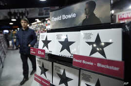"""""""Blackstar"""", the new album by David Bowie, is on display at a record shop in London, Jan. 11, 2016."""