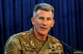 FILE - U.S. Army General John Nicholson, Commander of Resolute Support forces and U.S. forces in Afghanistan, speaks during a news conference in Kabul, Afghanistan, April 14, 2017.