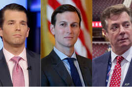 From left, President Donald Trump's son Donald Trump Jr., son-in-law Jared Kushner and former campaign manager Paul Manafort.