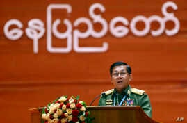Myanmar's Army Commander Senior Gen. Min Aung Hlaing speaks during the opening ceremony of the third session of the 21st Century Panglong Conference at the Myanmar International Convention Center in Naypyitaw, Myanmar, July 11, 2018.