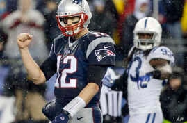 New England quarterback Tom Brady celebrates a touchdown by LeGarrette Blount in the AFC Championship, Jan. 18, 2015.