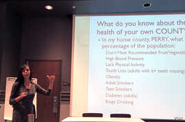 Dr. Nikki Stone leads a listening session in Morehead, Ky., with local health care providers and community members.
