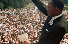 "FILE - Dr. Martin Luther King Jr. acknowledged the crowd at the Lincoln Memorial for his ""I Have a Dream"" speech during the March on Washington, Aug. 28, 1963."