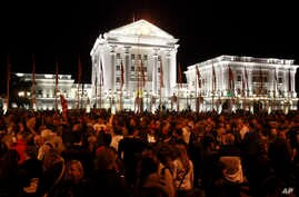 A protest in front of a government building in Skopje, Macedonia, April 21, 2016.