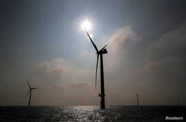FILE - Power-generating windmill turbines are seen at an offshore wind farm, Sept. 26, 2017.