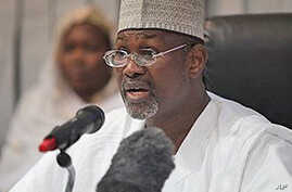 Attahiru Jega, Independent National Electoral Commission Chairman, declares Nigeria's incumbent President Goodluck Jonathan as the winner of last Saturday's presidential election.