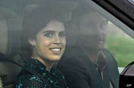 Britain's Princess Eugenie and Jack Brooksbank leave Windsor Castle a day ahead of their wedding in Windsor, Britain, Oct. 11, 2018.