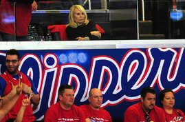 Shelly Sterling, wife of Los Angeles Clippers owner Donald Sterling, attends game 7 between the Clippers and the California Golden State Warriors in their NBA in Los Angeles, May 3, 2014.