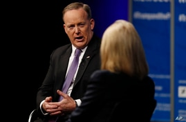 """White House press secretary Sean Spicer speaks to moderator Greta Van Susteren at the Newseum in Washington, April 12, 2017, during """"The President and the Press: The First Amendment in the First 100 Days"""" forum."""