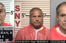 These composite photos provided by the California Department of Corrections and Rehabilitation show Sirhan Sirhan from left, in Oct. 29, 2009, Sept. 20, 2012, and Nov. 22, 2013.  For nearly 50 years, Sirhan has been consistent: He says he doesn't rem