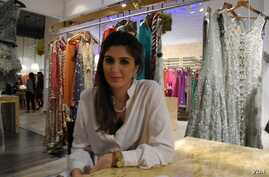 Khadijah Shah with her collection at the store in New Delhi, October 23, 2012. (Anjana Pasricha / VOA)