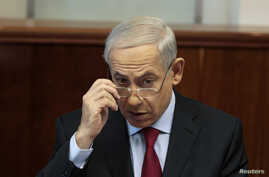 Israel's Prime Minister Benjamin Netanyahu is seen at a cabinet meeting in Jerusalem in this September 17, 2013, file photo.