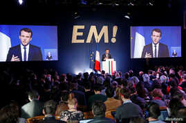 Emmanuel Macron, head of the political movement En Marche !, or Onwards !, and candidate for the 2017 French presidential election, speaks during a Paris news conference to unveil his budget manifesto, March 2, 2017.
