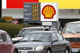 Gas prices are displayed at a Shell station in Beaverton, Ore., April 24, 2012.