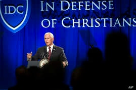 Vice President Mike Pence addresses the In Defense of Christians' fourth-annual national advocacy summit in Washington, Oct. 25, 2017.