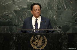 Prime Minister Anerood Jugnauth of Mauritius addresses the 71st United Nations General Assembly in the Manhattan borough of New York, Sept. 23, 2016.