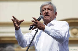 Leftist front-runner Andres Manuel Lopez Obrador of the National Regeneration Movement (MORENA) addresses supporters during a campaign rally in the municipality of Guadalupe, on the outskirts of Monterrey, Mexico, May 6, 2018.