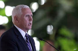 U.S. Vice President Mike Pence delivers a statement at the Itamaraty Palace, in Brasilia, Brazil, June 26, 2018.