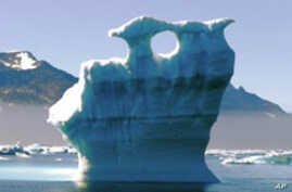 A melting glacier in the Arctic.