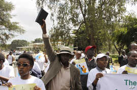 Members of various Christian groups march during a protest against homosexuality and same-sex unions in Nairobi, Kenya, July 6, 2015.