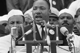 "Martin Luther King Jr. gave his ""I Have a Dream"" speech to hundreds of thousands of marchers gathered at the Lincoln Memorial in 1963"