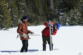 Frank Gehrke, chief of the California Cooperative Snow Surveys Program, for the Department of Water Resources, right, plunges the snow survey tube into the snow to check the depth of the snowpack during a supplemental snow survey, March 5, 2018, near