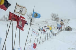 The Oceti Sakowin camp during a snowstorm as activists continue to protest the Dakota Access pipeline near the Standing Rock Indian Reservation, near Cannon Ball, North Dakota, U.S., Nov. 29, 2016.