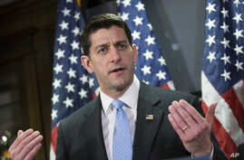 U.S. House Speaker Paul Ryan, R-Wis., talks with reporters in Washington, Feb. 2, 2016. Ryan said Republicans must channel voter anger into constructive and positive policy solutions to problems.