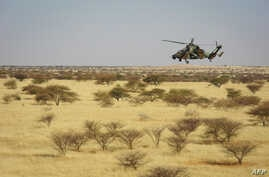 A Tigre helicopter of France's Barkhane mission in central Mali, is seen as the G5 Sahel anti-jihadist force began operations Nov. 1, 2017.