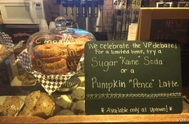 One of the bakeries downtown sells goods named after the 2016 vice presidential candidates who will take part in a debate at Longwood University, in Farmville, Virginia, Oct. 3, 2016. (K. Gypson / VOA)