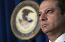 Preet Bharara, United States Attorney for the Southern District of New York, discusses alleged fraud by Russian Diplomats, New York, Dec. 5, 2013.