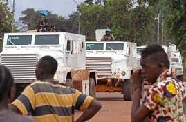 FILE - UN peacekeeping soldiers on patrol in the city of Bangui, Central African Republic. Seleka rebels confronted troops from the U.N. mission in the C.A.R. at a checkpoint in Batangafo after an outbreak of violence between the ex-Seleka and Christ