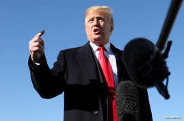 President Donald Trump talks to reporters about journalist Jamal Khashoggi's disappearance prior to boarding Air Force One for travel to Montana from Joint Base Andrews, Md., Oct. 18, 2018.