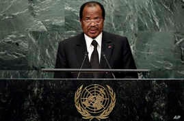 Cameroon's President Paul Biya addresses the 71st session of the United Nations General Assembly, in New York, Sept. 22, 2016.