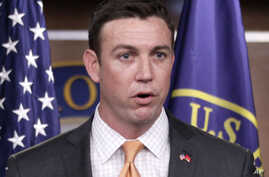 FILE - Rep. Duncan Hunter, R-Calif., speaks during a news conference on Capitol Hill in Washington.